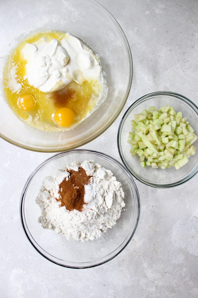 muffin ingredients in glass bowls